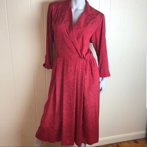 {Leslie Fay} Vintage Red Herringbone Print Dress
